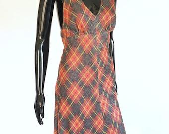 1970s Metallic Plaid Lurex Halter Dress