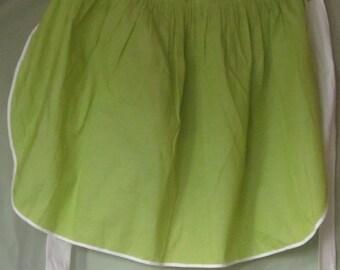 Vintage Green and White Cotton Apron