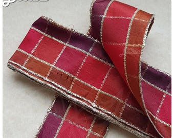 Wired Red Tartan Ribbon - 4cm x 3m - Red Maroon - Double Sided - Great for crafts and giftwrap
