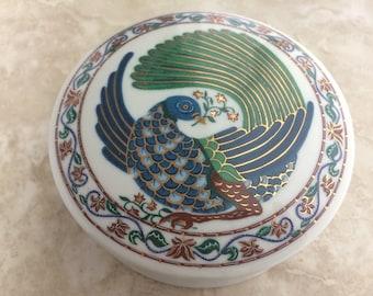 Vintage Elizabeth Arden Byzantium Pheasant Large Porcelain Trinket Box Round White