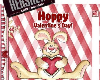 Printable Valentine's Day Candy Bar Wrappers 1.55 oz. Hershey's Milk Chocolate School Treats Bunny Designs