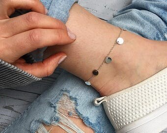 Silver anklet, Silver ankle bracelet, Dainty anklet, coin anklet, Disc anklet, Beaded Anklet, Bohemian ankle bracelet by Serenity Project.