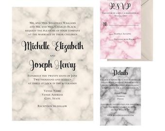Marbled Wedding Invitation Suite - Printable Marbled Invitations - Blush, Champaign and Grey Wedding Invitations - Invitation Template