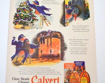 Vintage Calvert Whiskey Ad, Benny Bluebird, Give the Gift with the Happy Blending, Original Advertising, 1941