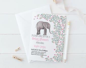 Elephant Baby Shower Invitation, Baby Shower Invites, Baby Shower Invitation Elephant, Elephant Invitation, Baby Shower Games