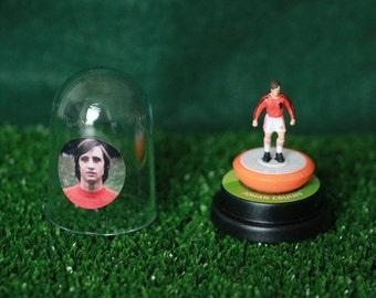 Johan Cruyff (Holland) - Hand-painted Subbuteo figure housed in plastic dome.