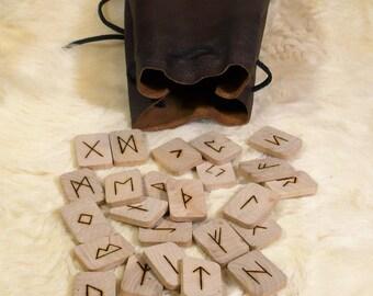 Viking runes, elder futhark set, wood tiles, leather draw bag