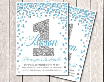 Blue Silver Birthday Invitation First Birthday Invitation Boy Birthday Invitation Printable Blue Gray Invitation Any Age Confetti Invitation