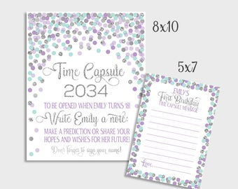 First Birthday Time Capsule Sign Purple Aqua Silver Confetti Time Capsule Sign & Message Cards 1st Birthday Or Baby Shower Time Capsule