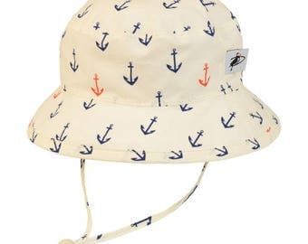 Child's Sun Protection Camp Hat - Organic Cotton Print in Anchor (6 month, xxs, xs, s, m, l)