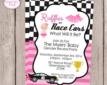 Ruffles or Race Cars Gender Reveal Invitation - Gender Reveal Invitation - Printable Invitation - Boy or Girl Invitation - He or She