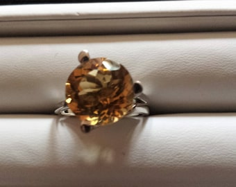 Sterling Silver Citrine Ring, Citrine Solitaire Ring, November Birthstone Ring