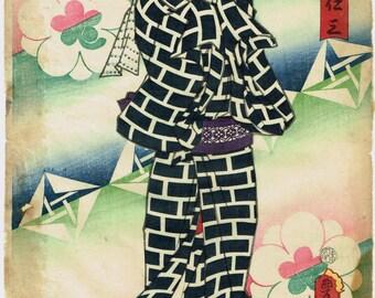 Japanese original Ukiyo-e Woodblock print 1859 Utagawa Toyokuni.