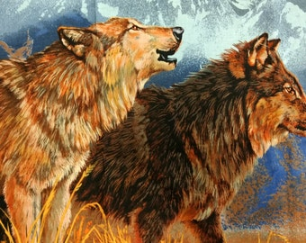 Wolf panel of fabric. quilters cotton quilting wolves