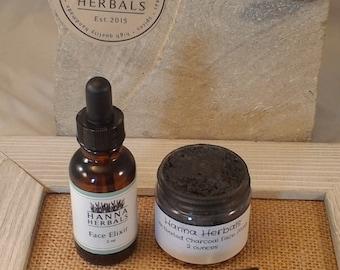 Skin Repair Gift Set - Face Elixir -  activated charcoal mask - skin repair set - eye serum - blemish control - essential oil blends