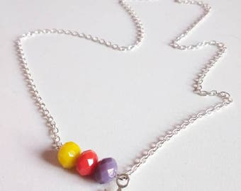 Silver necklace collection SOL trio of glass beads yellow, orange and violet and chain