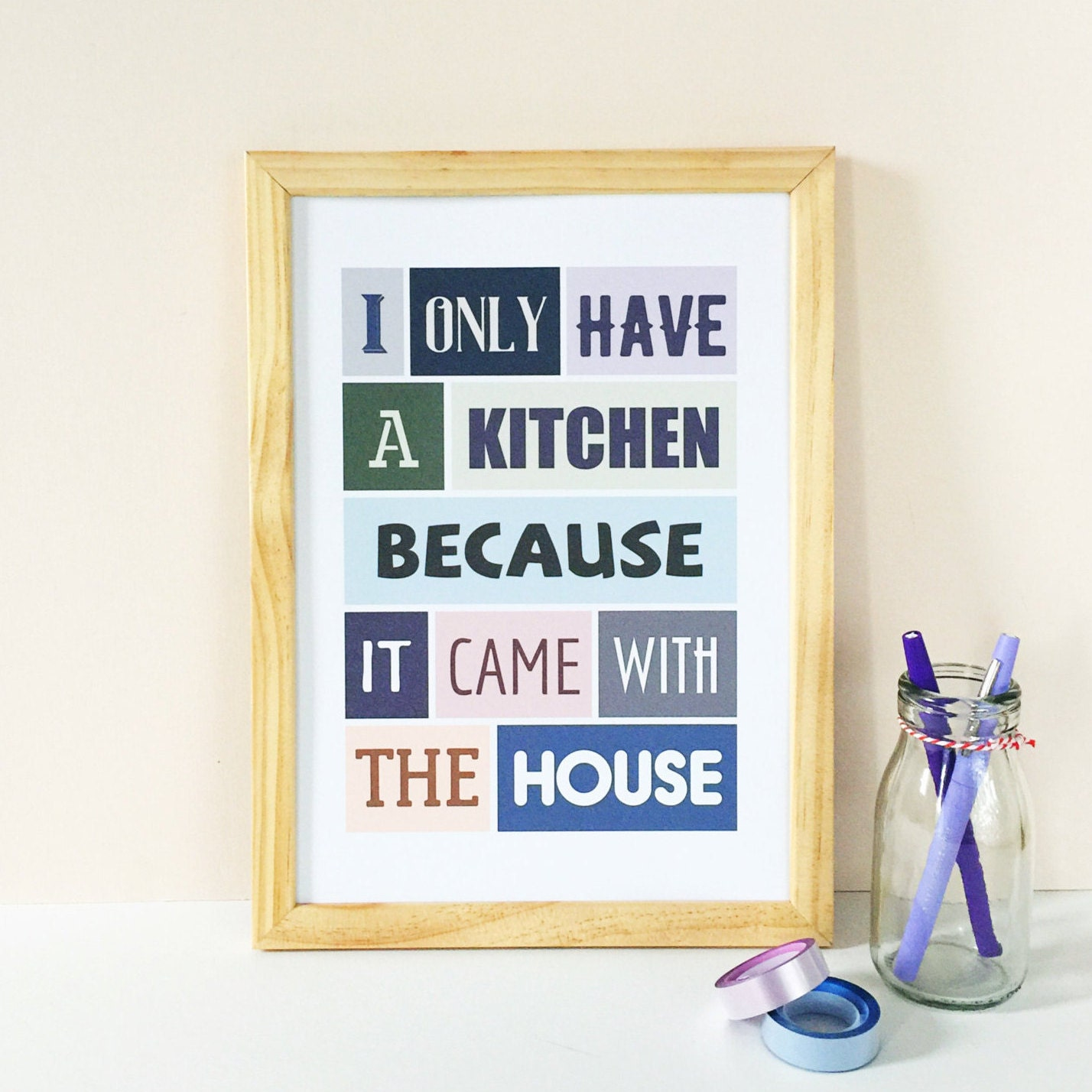 kitchen decor housewarming gift colorful print funny
