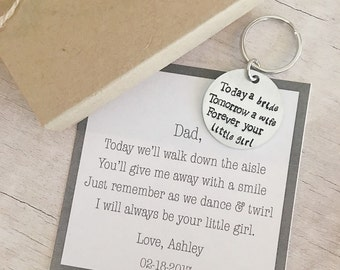 Father of the Bride Gift Keychain - Father of the Bride Gift Ideas - Daughter to Dad Gift - Father of the Bride Gift - Hand Stamped Keychain