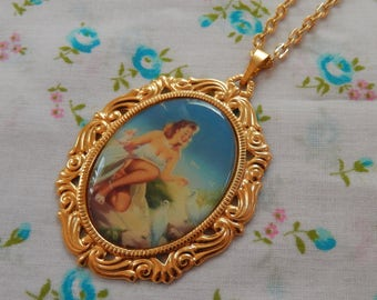 Pin Up Girl Feeding the Doves Cameo Necklace