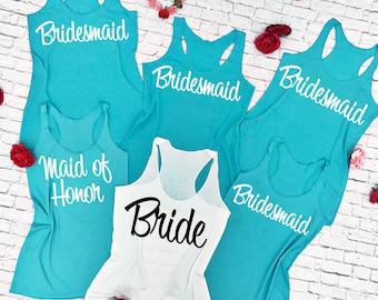 10 Bridesmaid tank top. Bachelorette Shirts. Set of 10 Bridesmaid shirts. Wedding tank tops.