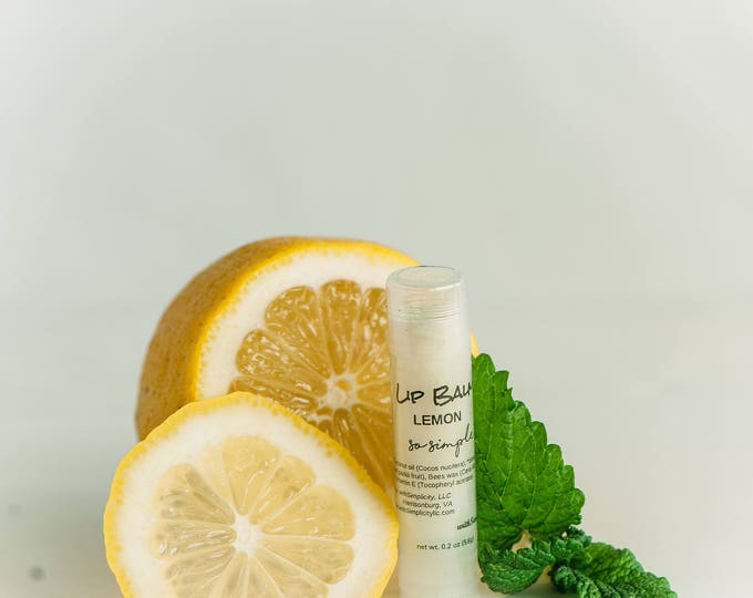 Lip Balm LEMON Moisturizing in a clear twist up tube ORGANIC