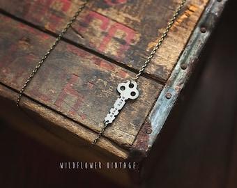 Mama Bird Infinity Key Necklace | Hand Stamped Vintage, Repurposed, Sideways, Horizontal