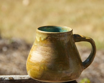 Handmade wheel thrown mug, green/blue