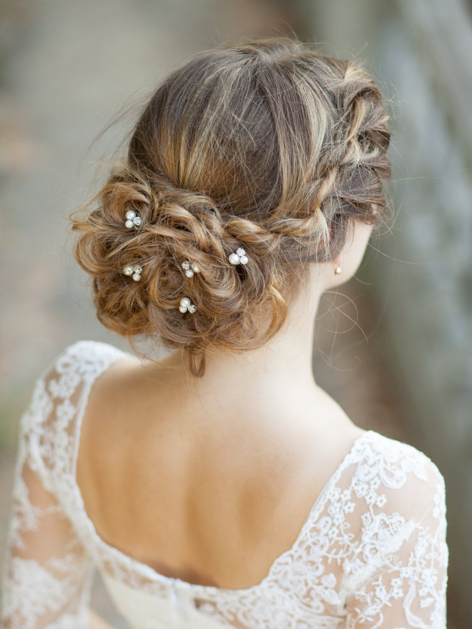 Bridal Hair With Pins : Set of bridal hair pearl wedding