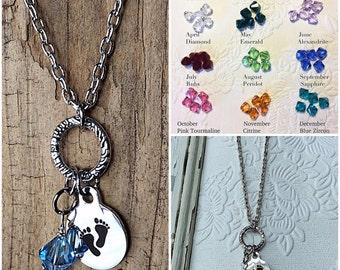 Push present - New Mom keepsake - New Baby - aquamarine birthstone - March birthday gift - baby feet silver charm - personalized birthstone