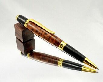 Fancy Wood Twist Pen - Handmade Pen Handmade from Thuya Burl 24kt Gold Wooden Ink Pen - Writing Pen Christmas Gift Pen - Handmade Wood Gift