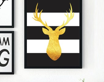 Gold Black and White Stripe Deer Head Printable Art - Holiday Print - Antlers - Buck Head Wall Decor - Instant Print