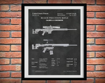 2015 Ruger Sniper Rifle Patent - Creedmore 6.5 - Precision Rifle Art Print - Poster -  Fire Arm - Military Weapon - Assault Rifle - Gun