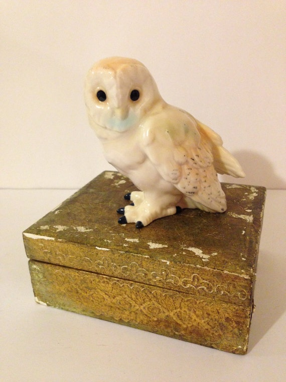 Vintage Spotted Owl Figurine White Small Porcelain Mid