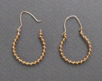 14K gold wire hoop earrings