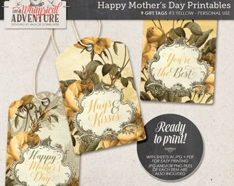 Hugs And Kisses, You're The Best, Mother's Day, Gift For Mom, Printable Gift Tags For Her, Romantic Vintage Roses, Floral, Instant Download