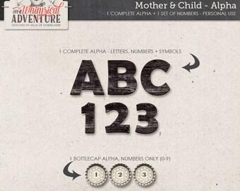 Mother, baby, child, digital scrapbooking alphabet, digital download alpha, letters, numbers, symbols, wooden alpha, bottlecap alpha, doiley