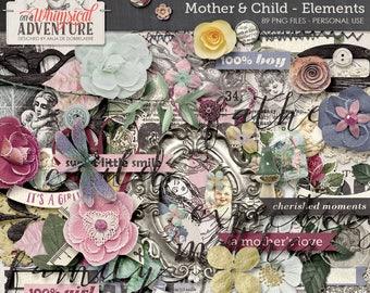 Mother, baby, child, digital scrapbooking embellishments, digital download elements, vintage, flowers, paint, word art, buttons, foliage