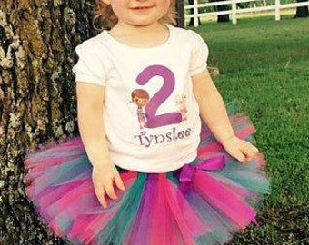 Doc McStuffins Birthday Outfit, Doc and Lambie Birthday Tutu Set, Personalize ANY AGE and NAME, 1st First Birthday, 2nd Birthday, Disney Doc
