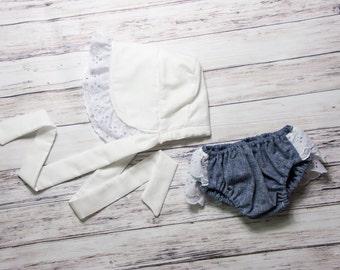 White Eyelet Baby Bonnet and Denim Diaper Cover- white sunbonnet, Easter baby bonnet, eyelet baby bloomers, eyelet diaper cover