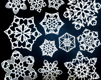 12 PAPER SNOWFLAKES Handmade Unique Window Decoration Decal One of a Kind Winter Holiday Christmas