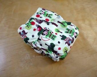 Handmade Cloth diaper - Medium (14-26 lbs.) - Robin Hood - cloth nappy - all in one - forest fairy tale - apple - horse - woodland - trees