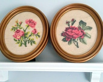 Pair of Vintage Floral Needlepoints in Oval Frames Cottage Decor