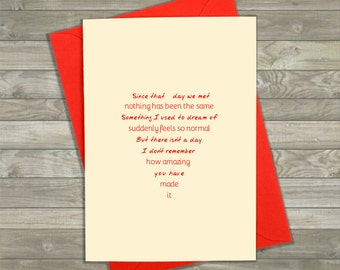 Love Card with Message, Anniversary Card, Wedding Day Card, Love Card Him, Romantic Card, Love Card Her, Cute Cards, Husband Card, Wife Card