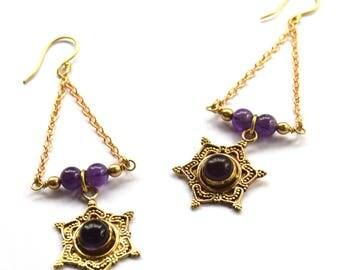 Amethyst Earrings, Boho Earrings, Gemstone Earrings, Statement Earrings, Ethnic Earrings, Indian Earrings
