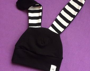 Bunny Hat, Black Baby Bunny Hat, Baby Easter Bunny Hat, Newborn Easter Hat, Floppy Ears, Striped Floppy Eared Knit Black white Stripe Cotton