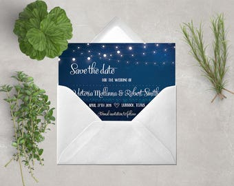 Save the date, starry night, printable invitation, navy wedding card, navy wedding, save the date card, night wedding, stars, lights