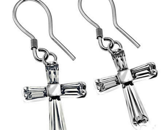 CZ Clear Prism Cross Earrings