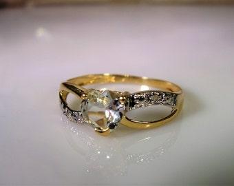 10K Gold Ring, Aquamarine Heart Ring, Aquamarine & Diamond Ring, Aquamarine Ring, Heart Ring, Infinity Design Ring, Vintage Ring – Size 7.5