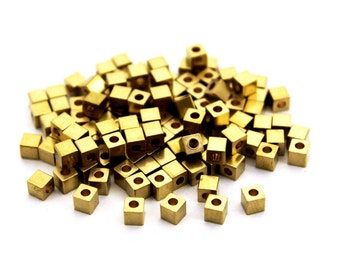 50 pcs Raw Brass Industrial Cube Beads, Industrial Findings, Brass Cube Beads, Solid Brass Cube Beads, Pendant ( 4 mm ) Hole Size 2 mm