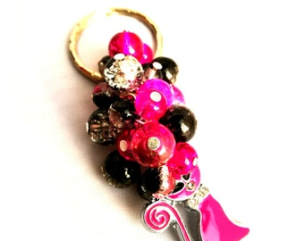 Cat Beaded Keyring, Hot Pink, Black & Clear Key Chain, Bag Accessory, Gift for Her, Cat Lover